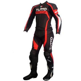 Macacão Tutto Moto Racing Vermelho - 2 Peças - Couro Corrida