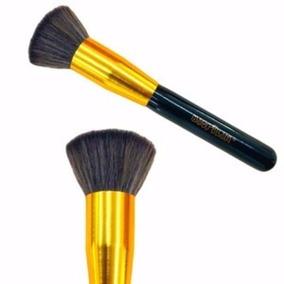 Pincel Kabuki Reto Macrilan G115 Primer E Base Dourado