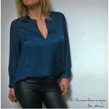 Blusa Camisa Esc V Seda Saten Gasa L Xl Blanca Azul Vainilla