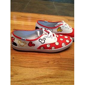 Vans Mickey Mouse Rojo Pintados A Mano