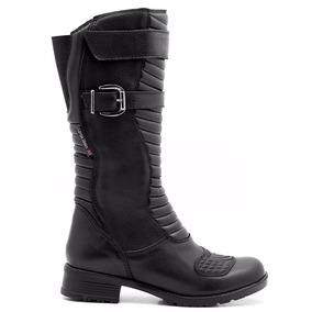 Bota Motociclista Feminina Atron Shoes Couro 9117