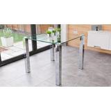 Mesa De Vidrio Con Patas Cuadradas En Aluminio - Acero