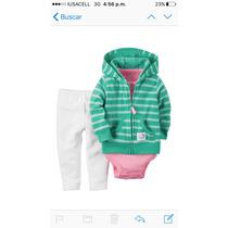 Conjunto Carters Para Niña Pantalon ,pañalero Y Chamarrita -