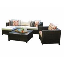 Sofá Com Chaise + Poltrona + Mesa De Centro Fibra Vime Junco