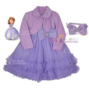 Vestido De Festa Infantil Princesa Sofia Com Bolero E Tiara