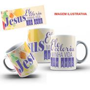 Caneca Porcelana Jesus Coloriu Minha Vida 325 Ml + Caixinha