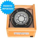 Bussola Náutica 100mm - Caixa De Madeira Para Barco