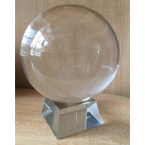 Bola Esfera De Cristal 14 Cm Diametro Con Su Base Grande