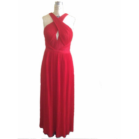 Vestido Fiesta Rojo Largo Strech Marca Guess Importado T10 L