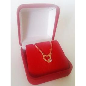 Semijoia Rommanel Coração Feminino Colar Cordão 50cm 531182