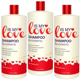 Kit 3 Shampoo Alisante Liso Extremo Is My Love 1000ml