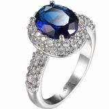 Anillo De Compromiso Plata Ley 925 Con Zafiro Azul Hermoso