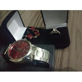 Relógio Ck Red + Pulseira Red + Anel Solitário 17 + Frete