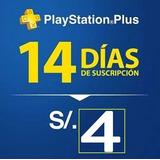 Membresía Psn Plus 14 Días Ps4