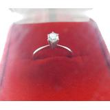 Anel Solitário Diamante 25 Pontos Ouro Branco 18k 750 Lindo