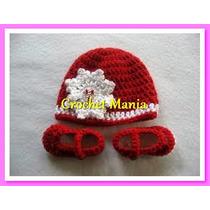 Conjunto Gorro Y Zapatitos Tema Navidad Tejidos A Crochet
