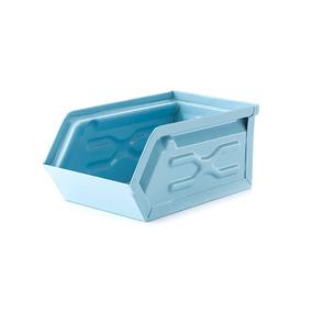 Kikkerland Papeleria Contenedor Metal Apilable Azul Claro