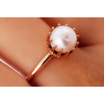 Anillo Corona Perla Blanca En Oro De 14k (28660)