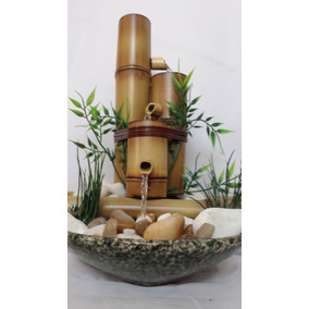 Fonte Água Cascata Bambu Feng Shui Cerâmica E Pedras 3 Bambu