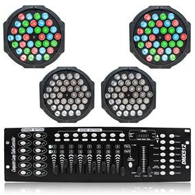 Kit Iluminação Dj 4 Strobo Refletor 36 Led Mesa Dmx Efeito