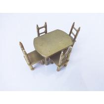 Mesa E 4 Cadeiras Dourado Miniatura P/ Coleção - França