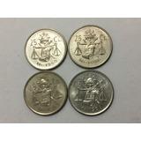 4 Monedas 25 Centavos Balancitas 1950 1951 1952 1953 Plata