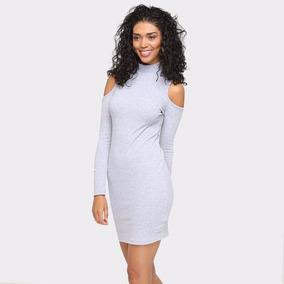 Vestido Gola Alta Recorte Ombro Manga Longa
