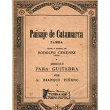 Partitura Antigua Zamba Paisaje De Catamarca Rodolfo Gimenez