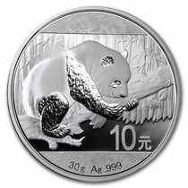China 2016 Panda 30 Gm. Plata Pura .999 En Cápsula Original.