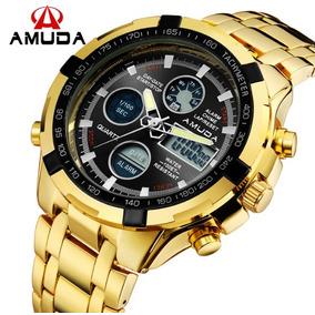 Relógio Dourado Prata Luxo Masculino Amuda - Modelo 2002