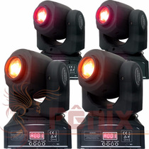 4 Moving Head Spot Led Osram 20w Gobo + Disco De Cor Dmx