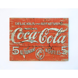 Cartel Cuadro De Madera Vintage Impreso Coca Cola