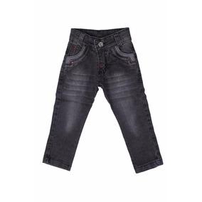 Calça Jeans Bebê Meninos Masculino Cinza Tamanhos 01 02 03