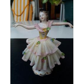 Figura Bailarina Porcelana Tul Vidriado Dresden Y Caballero