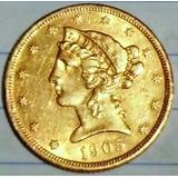 Moneda De Oro Norteamericana De 1905 En Perfecto Estado.