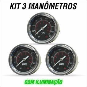 Kit 3 Manometro Importado Para Suspensao Ar Saveiro Quadrada