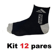 Kit 12 Pares Meia Masculino Cano Curto Soquete Algodão/ P/a