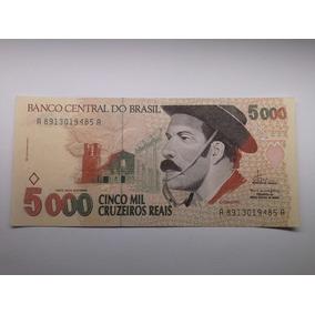 Cedula Brasil 5000 Cruzeiros Gaucho Fc Flor De Estampa