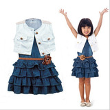 Roupas Infantil Kit Menina Jeans Vestido Crianca