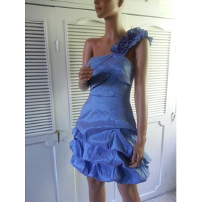 Vestido Coctel Fiesta Xoxo Talla 7 Azul Cielo Tornasol Nuevo