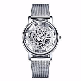 Reloj Relojes Elegante Casual Tipo Skeleton Cromado
