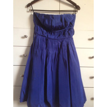 Vestido Strapless Azul Francia Drapeado. Marca Chocolate