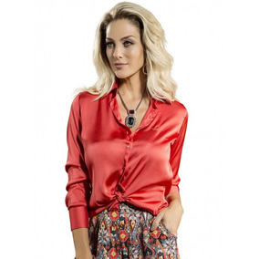 Camisa Despojada Feminina De Cetim Cristina