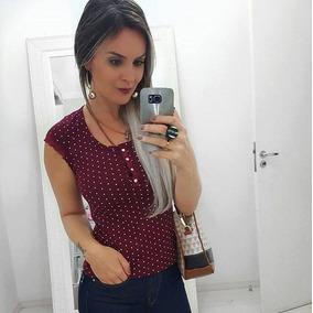 Blusinhas T-shirts Feminina Com Botão Manga Malha Caneladas