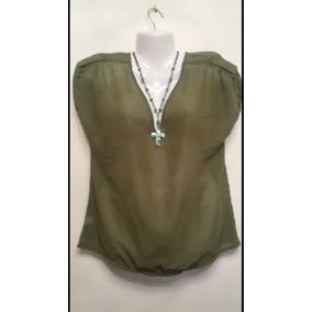 Blusa Remera De Gasa Nueva Color Verde Militar Talle L