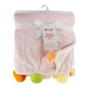 Cobertor Manta Pompom Rosa E Branco Comtac 4231