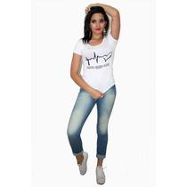 Blusa Feminina Tecido T-shirts Estampa Fé, Esperança E Amor