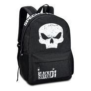 Mochila Preta Caveira Black Skull Justiceira Militar Laptop