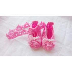 Zapato De Bebe Con Corona Tejidos A Crochet