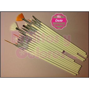 Set 15 Pinceles Color Blanco Mano Alzada Uñas Acrilicas